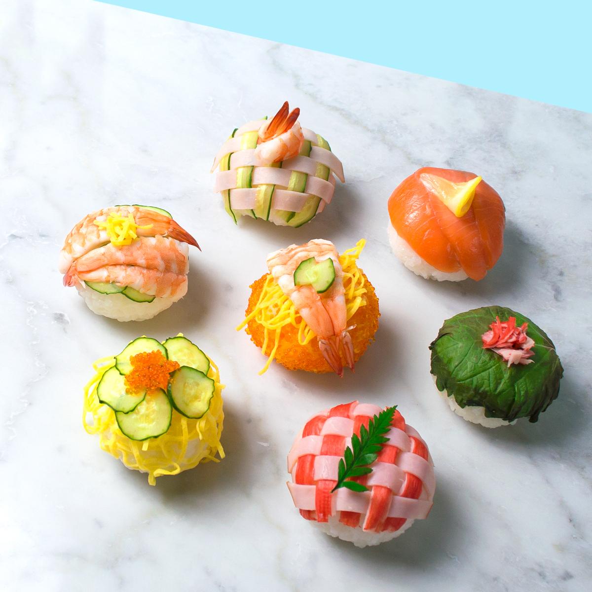 <center>サランラップで簡単!パーティー手まり寿司の作り方 <br><small>Japanese Temari sushi</small></center>