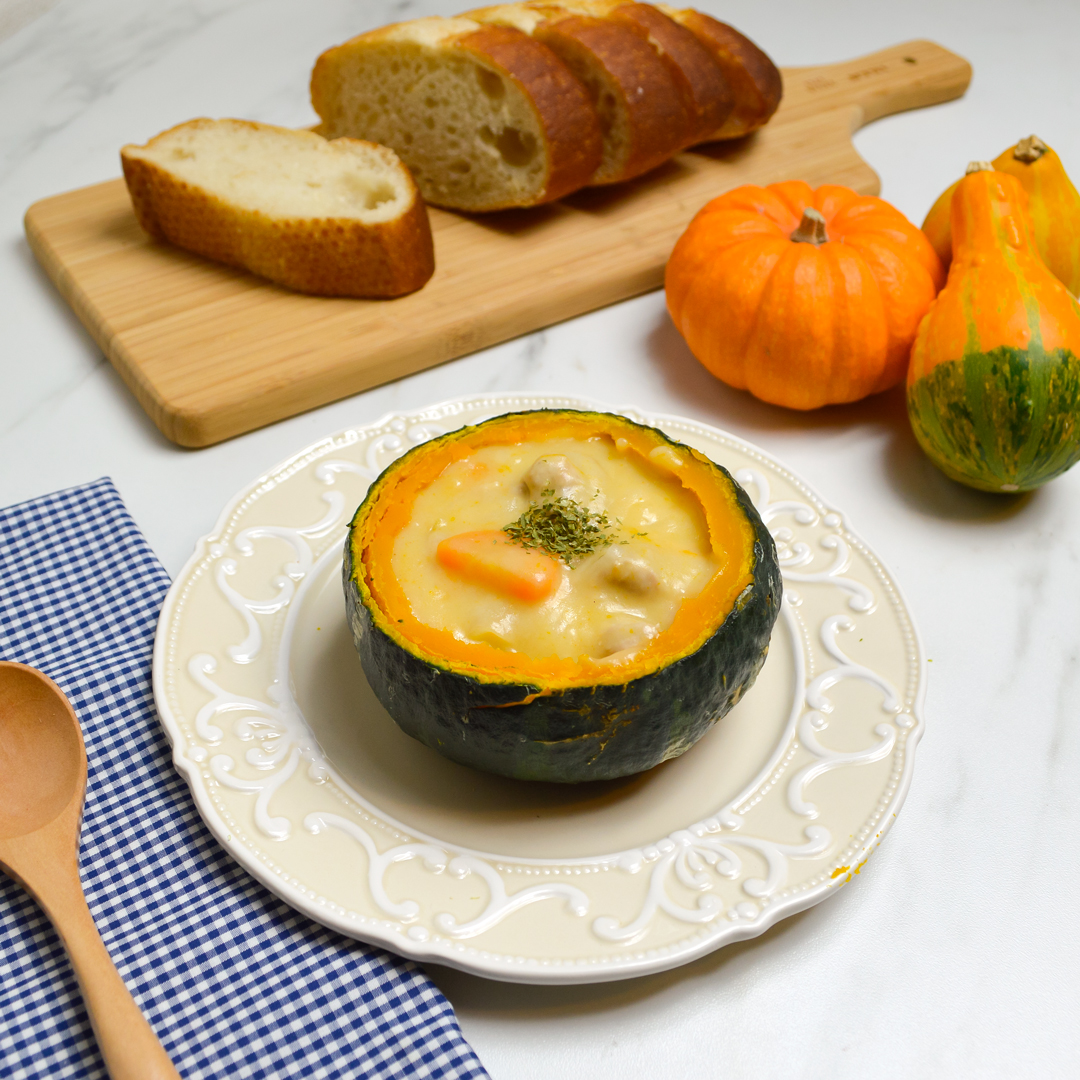 <center>ハロウィンにぴったり!ジャック・オ・ランタン クリームシチューのレシピ <br><small>jack-o'-lantern Cream Stew</small></center>