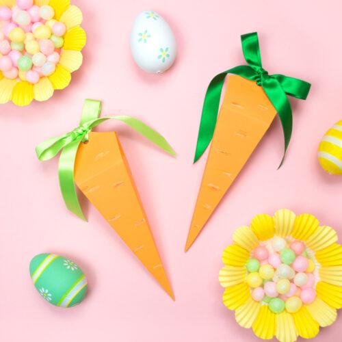 <center>イースターバニーのおやつ♪キャロット人参スナックバッグの作り方(無料素材) <br><small>DIY Easter Carrot Snack Bags</small></center>