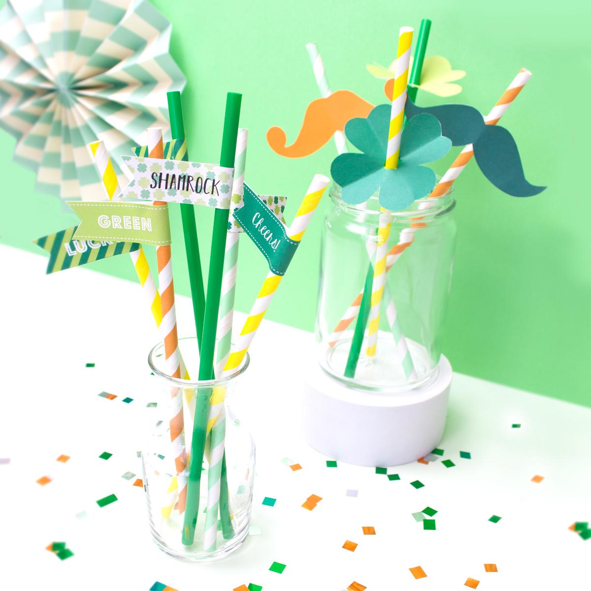 <center>セントパトリックスデーパーティに! 簡単デコストローのデザイン配布(無料素材) <br><small>DIY St. Patrick's Day Printable</small></center>