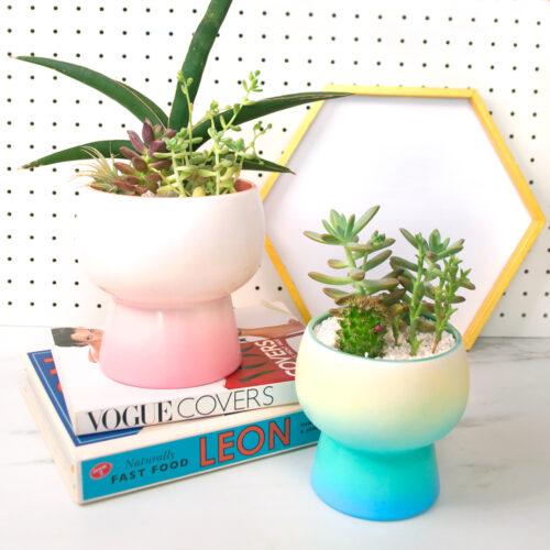 <center>フライングタイガーのプランター&トレーをワンランクUPアレンジ! <br><small>DIY Gradient Planter & Tray</small></center>