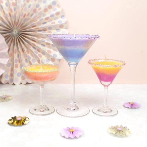 カクテルグラスで作る!カラフルキャンドルの作り方 <br><small>DIY Cocktail Glass Candles</small>