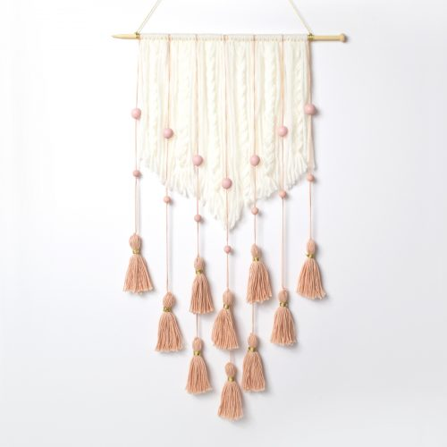 <center>手作りタッセル・ウォールハンギングの作り方 <br><small>DIY Tassel Wall Hanging</small></center>