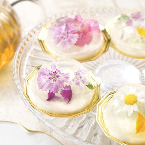 エディブルフラワーが可愛い!簡単2層ゼリーの作り方<br><small>Edible Flower Yogurt Jello</small>