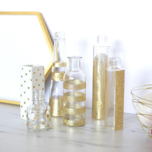 キラキラ!ゴールドグリッター花瓶の作り方 <br><small>DIY Gold Glitter Vase</small>