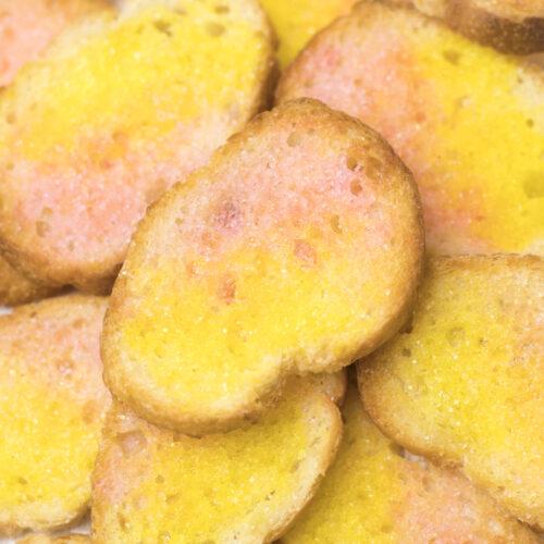 <center>余ったフランスパンの活用レシピ!パステルシュガーラスクの作り方<br><small>Pastel Color Sugar Rusk</small></center>