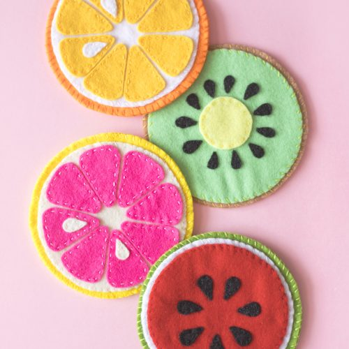 <center>100均フェルトで作る!フルーツコースターの作り方(無料素材) <br><small>Fruit Slice Felt Coaster</small></center>