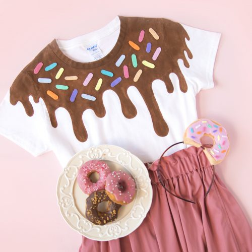 <center>縫わずに作れる!簡単ドーナツコスチューム&カチューシャの作り方(無料素材)<br><small>DIY Easy Donut Tee &  Hairband</small></center>